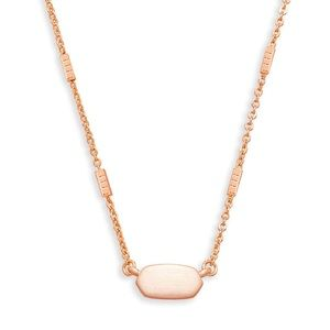 New Kendra Scott Fern Pendant Necklace Rose Gold